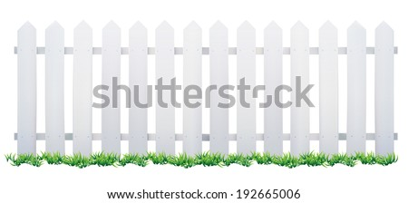 wooden fence and grass vector