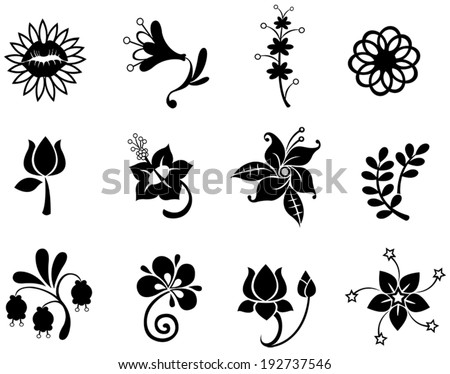 fantasy flower silhouette icon