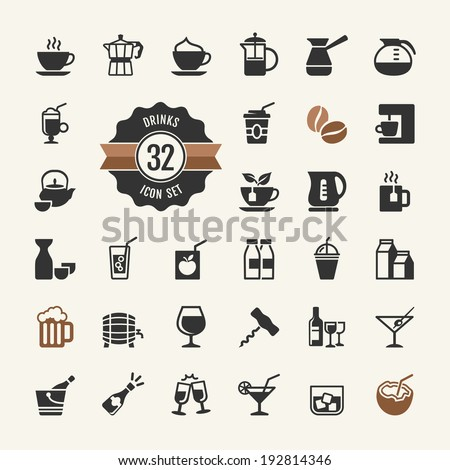 basic   drink icons vector set
