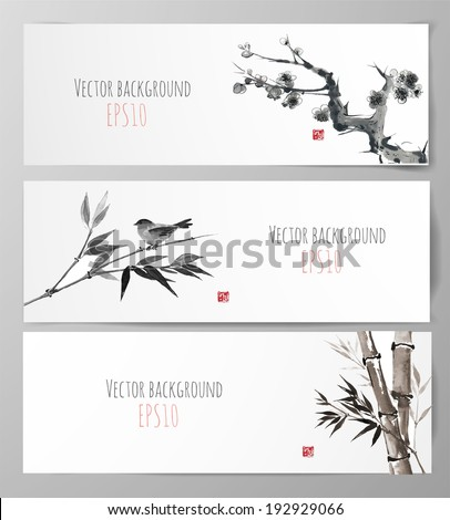 banners with sakura  bamboo and