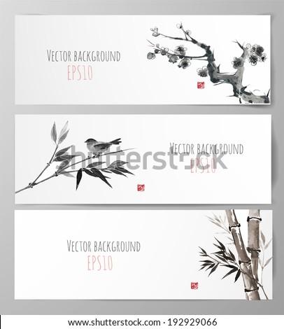 banners with sakura  bamboo and