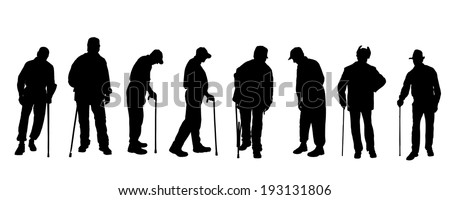 vector silhouette of old people