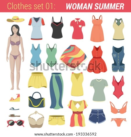 woman summer clothing vector