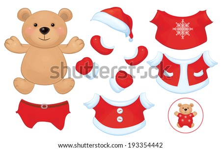 vector cute  bear toy with  set