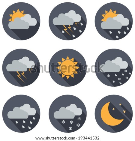 weather vector icons flat