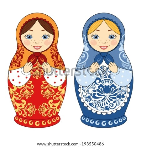 two russian matryoshka dolls