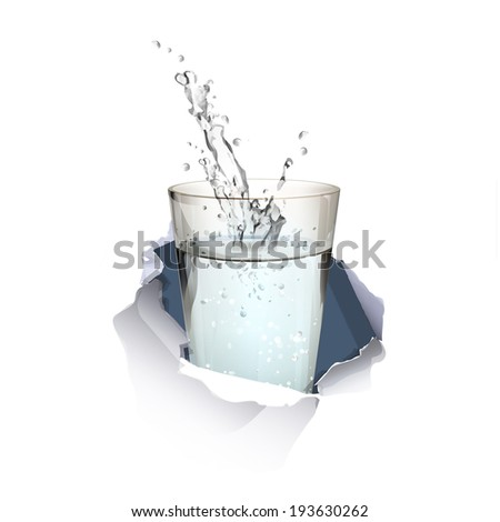 water glass inside hole paper