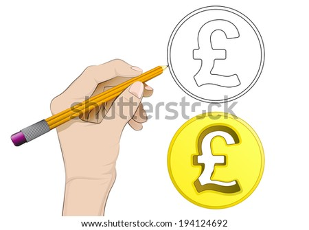 golden pound coin as isolated