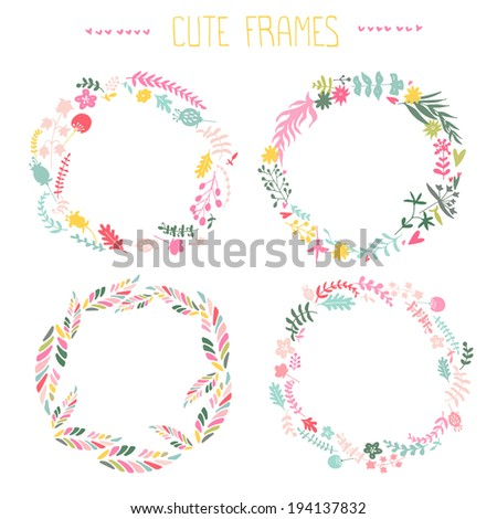 set of vector floral frames