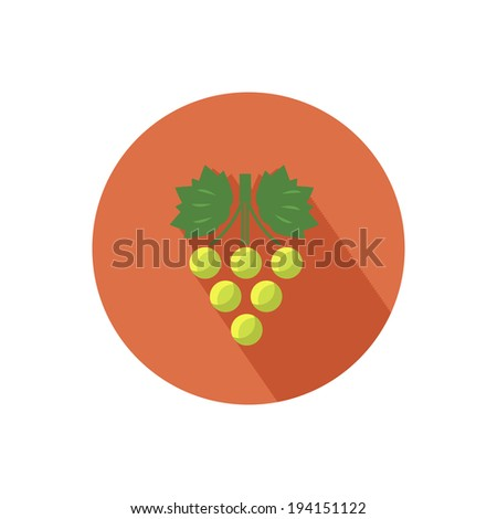 grapes icon with shadow in flat
