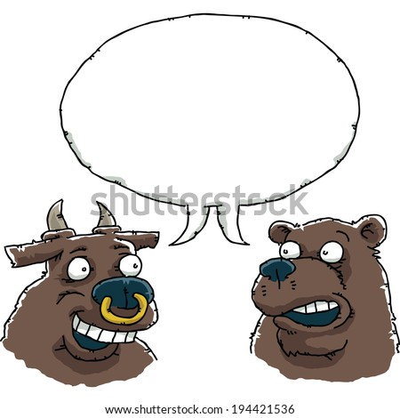 a cartoon bull and bear in