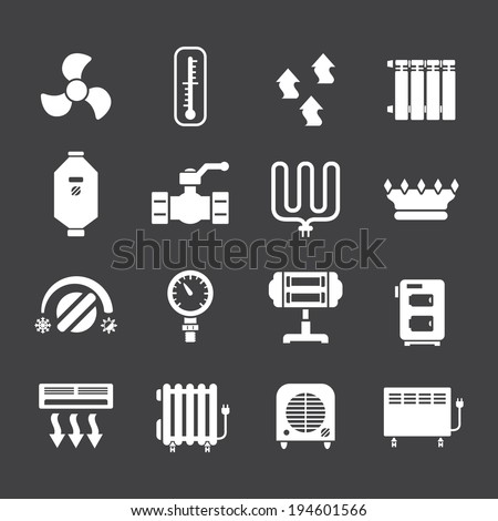 set icons of heating isolated