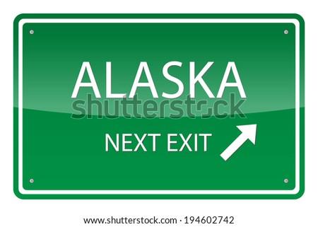 green road sign  vector   alaska