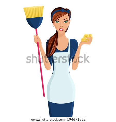young beautiful cleaning lady