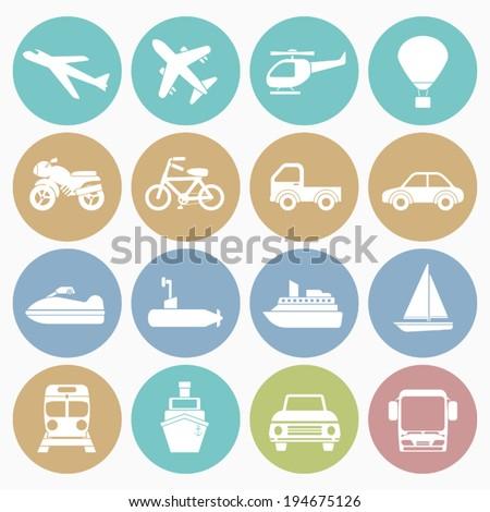 vehicle icons set
