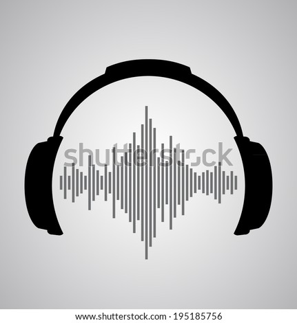 headphones icon with sound wave