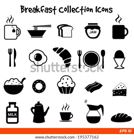 abstract icons breakfast vector