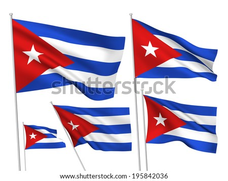 cuba vector flags a set of 5