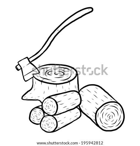 axe and wood   cartoon vector