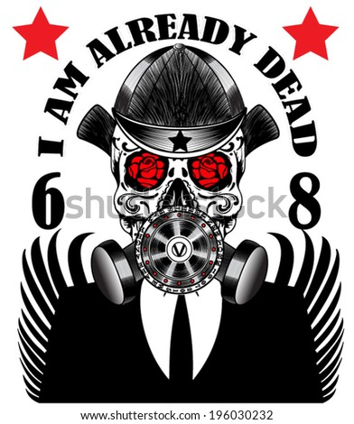 skull gas mask poster man t