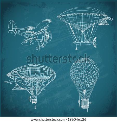 retro airships sketch