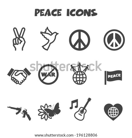 peace icons  mono vector symbols