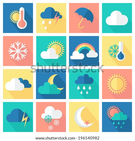 set of weather icons flat style