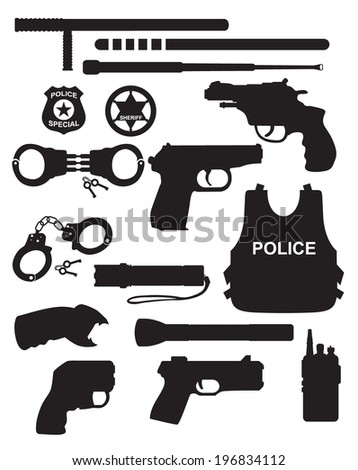 vector police equipment set
