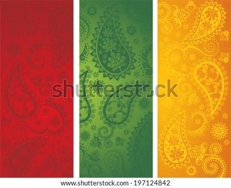 set of 3 traditional colorful