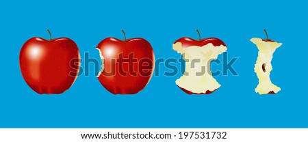 vector of eaten apple on blue