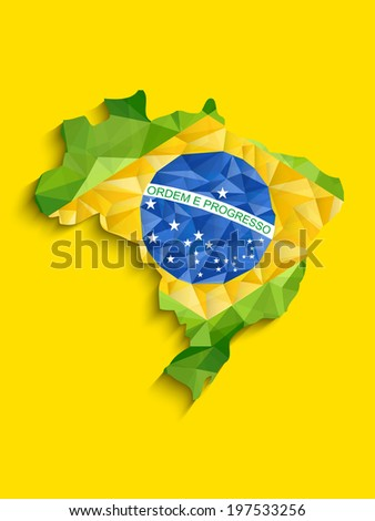 vector   brazil flag map yellow