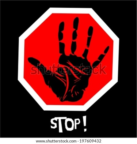 hand raised in stop sign