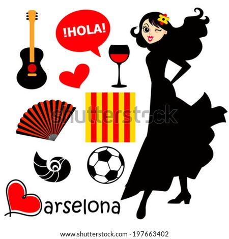 barcelona black and red vector
