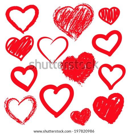 vector hearts set hand drawn