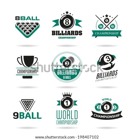 billiards and snooker icons set