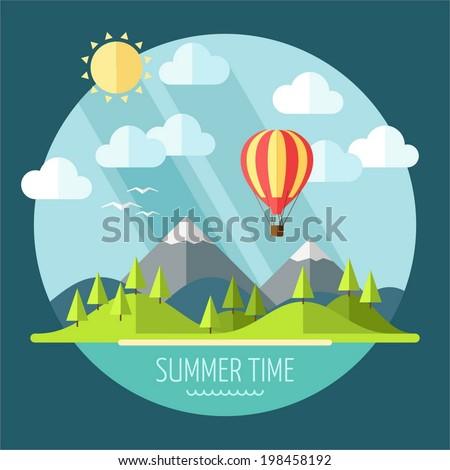 summer landscape in flat style