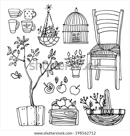 set of garden furniture vector