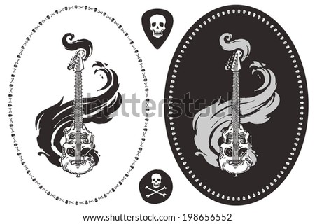 skull shaped guitar in the