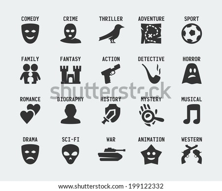 film genres vector icon set