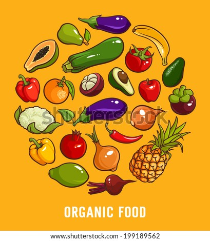 set of organic food for your