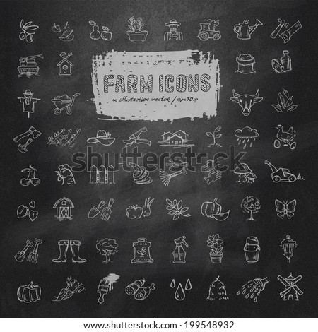farm icons set vector format