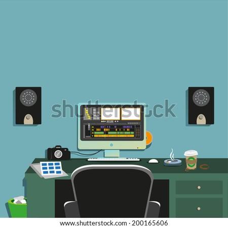 dark video editing room concept