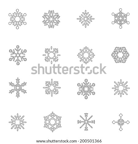 snowflakes line drawing by