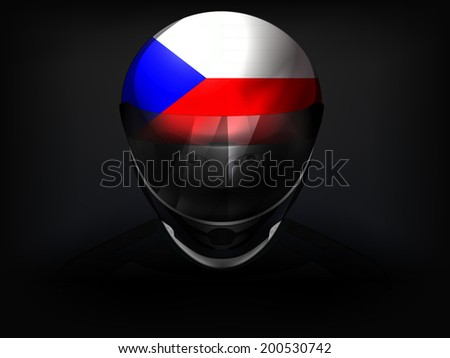 czech racer with flag on helmet