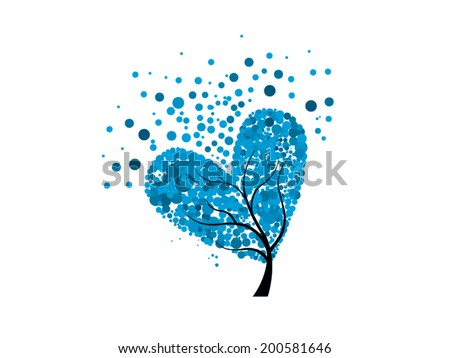 abstract tree blue heart