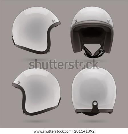 white motorbike classic helmet