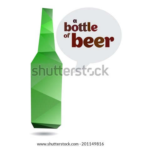 empty bottle of beer in origami