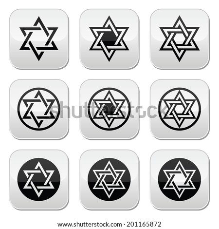 jewish  star of david icons set