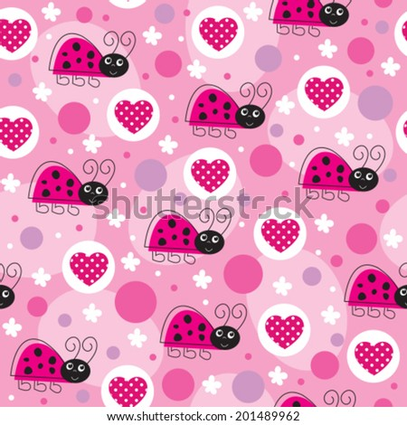 love pink ladybird pattern