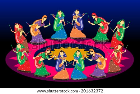 female playing dandiya on